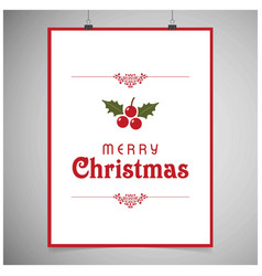 Chrismtas card with frame and cherries vector