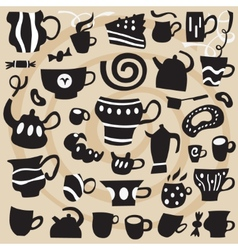 coffee cups - icons set vector image vector image