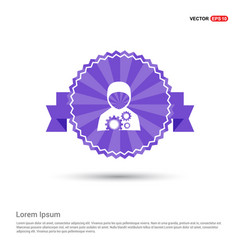 Construction workers icon - purple ribbon banner vector