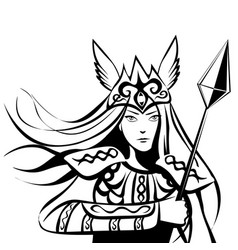 Contoured valkyrie with a lance tattoo or print vector