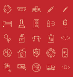 coronavirus line color icons on red background vector image