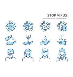 coronavirus line icon set vector image