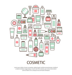cosmetic collection with text vector image