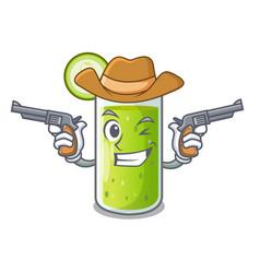 Cowboy character fresh juice of green cucumber vector