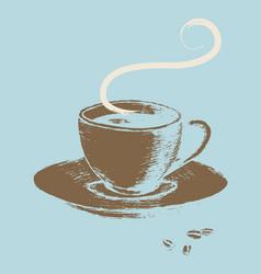 Cup of coffee retro art vector