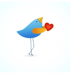 cute blue bird with heart vector image vector image