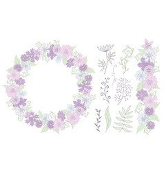 cute floral elements for design cards vector image
