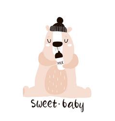 cute little one bear drink milk print childish vector image