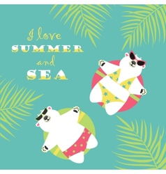 Cute polar bears swimming with rubber ring vector
