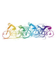 cycling race line art stylized cartoon vector image