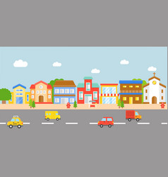 Downtown landscape modern village flat design vector
