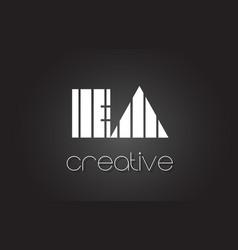 Ea e a letter logo design with white and black vector
