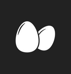 egg icon flat on black background vector image