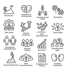 Employment line icons set on white background vector