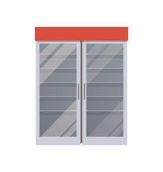 empty fridge at supermarket vector image