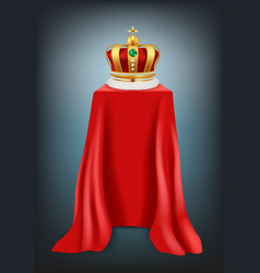 exhibition crown podium covered with red silk vector image