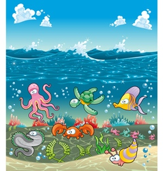 Family of marine animals under the sea vector image