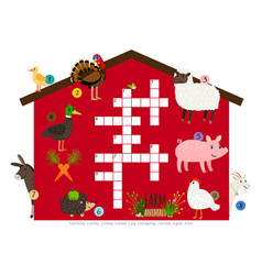 Farm animals kids crossword template vector
