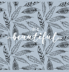 feather pattern with lettering print design vector image
