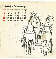 February 2014 hand drawn horse calendar vector image vector image
