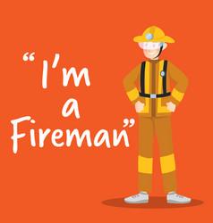 fireman smiling character on orange background vector image