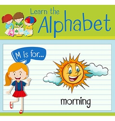 Flashcard letter M is for morning vector image