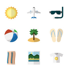 flat icon beach set of sphere aircraft sunshine vector image