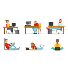 flat set cartoon peoples with laptops vector image