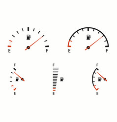 fuel gauge indicator icons set car dial meter of vector image