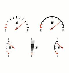 Fuel gauge indicator icons set car dial meter of vector