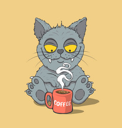 Funny cat with cup of coffee vector