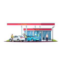 gas station with people semi flat rgb color vector image