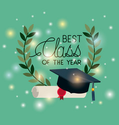 graduation card with diploma and hat vector image