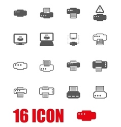 grey printer icon set vector image