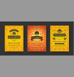 halloween party flyers invitations or posters set vector image