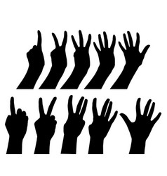 hands black gestures count one two three four vector image