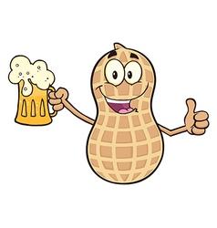 Happy peanut cartoon with beer vector