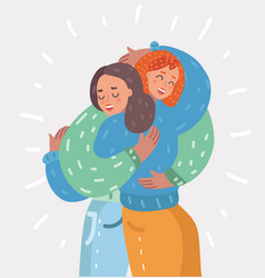 Happy young girls hug each other woman friendship vector
