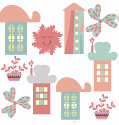 houses abstract modern city seamless pattern it vector image