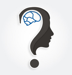 human face and brain with question mark vector image