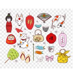 japan colored doodle sketch elements symbols vector image