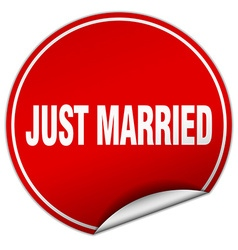 Just married round red sticker isolated on white vector