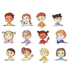 kids portraits cute multi-ethnic children vector image