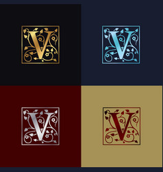 letter v decorative logo vector image