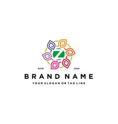 Letter z leaf colorful logo design and business vector