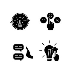 Logical and rational thinking black glyph icons vector