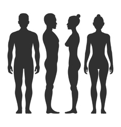 Man and woman silhouettes in front side vector