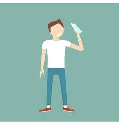 Man Drinking Water vector image
