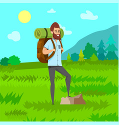 man hiking green nature travel hob vector image