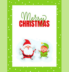 merry christmas greeting card with santa claus elf vector image